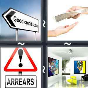 "An arrow sign reading ""GOOD CREDIT SCORE"", Person handing cash to another person, A sign reading ""ARREARS"", and A spacious room with paintings"