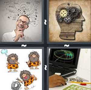 Person Thinking, Head with Gears, Cavemen Cartoons, and Computer