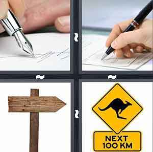 To sign a paper, To sign your signature, Wooden sign, and Yellow street sign