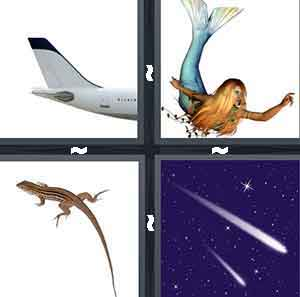 The end of an airplane, A mermaid, A lizard, and Comets shooting in the sky