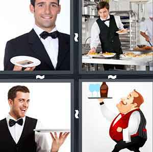 A person in a tuxedo holding a plate, A person in a tuxedo picking dishes up off of a table, A person holding a tray with nothing on it, and A cartoon person holding a tray with drinks on it