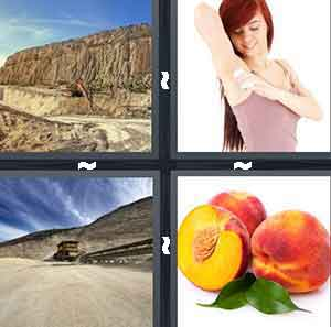 A hole in the mountain, A woman putting on deodorant, A dirt road leading to a mountain, and A peach cut in half