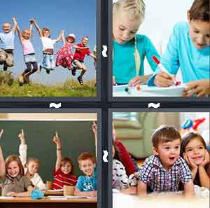 Kids Jumping, Kids Drawing, Children in classroom, and Kids playing