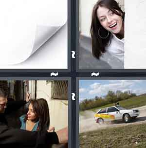White paper, Girl with hoop earrings, Girl cornered by men, and Car racing