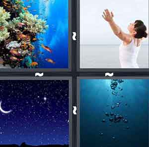 Fish in the ocean, Night sky, Deep water, and Woman with arms open