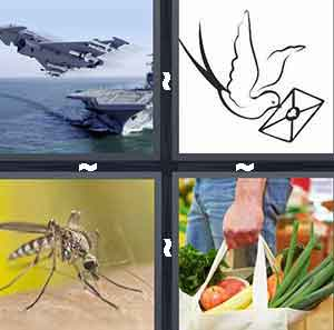 Battleship and plane, Bird holding letter, Mosquito bug, and Bag of groceries vegetables