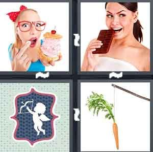 A woman putting lipstick on, A woman biting into a piece of a chocolate bar, A cartoon drawing of a cupid, and A carrot on a stick