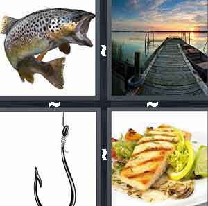 A fish, A boardwalk doc leading to the ocean, A fish hook, and A piece of fish on a plate - maybe salmon, halibut, some sort of white fish