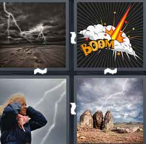 "A cloudy area with lightning striking, A cartoon drawing with the word ""boom"" on it, A woman cover her ears, while lightning strikes, and Lightning striking land"