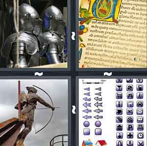 Knights armor, An old book, A figure of a man that looks like Robin Hood, and A bunch of different icons in a row
