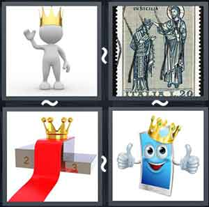 Human figure wearing a gold crown, A King and queen drawn on a stamp, A gold crown, and Crowned cartoon image giving a thumbs up sign