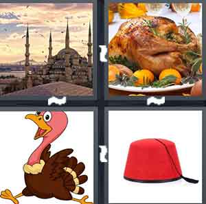 A landmark found in a particular country, A cooked bird, A cartoon bird, and A red hat
