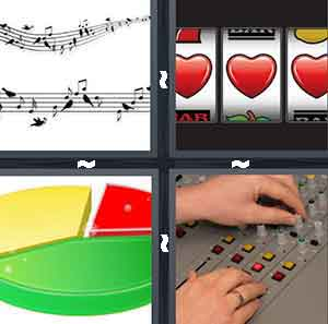 Musical notes, Lottery machine, Red green and yellow pie graph, and Sound controls