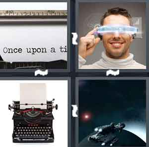 A typewriter with white paper, A person with virtual glasses, A typewriter, and A spaceship on a planet