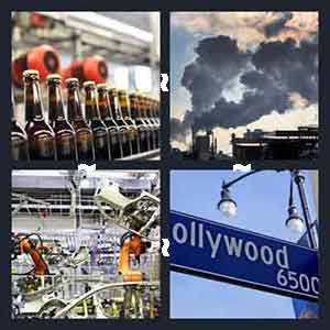 Beer bottles, Smoke/pollution clouds, Machines, and Hollywood road sign