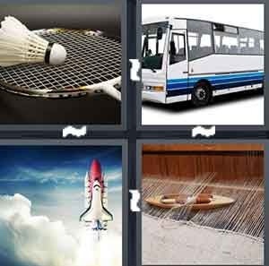 A birdie and a racquet, A bus, A spacecraft in the air, and A yellow boat