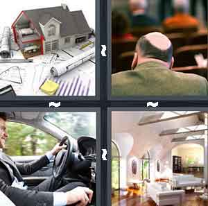 A house on top of papers, A balding man sitting on a bench, A person driving a car, and The inside of a home