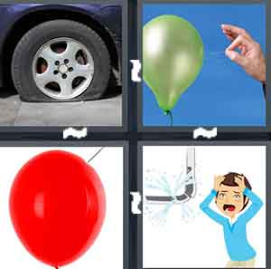 A flat tire, A person trying to pop a balloon, A red balloon with a needle touching it, and A cartoon figure of a man staring at a leak in a pipe