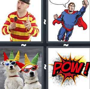 "A man in a red and yellow shirt with a microphone, A man with a red cape, Dogs with sunglasses and party hats on, and A cartoon drawing of the word ""Pow!'"