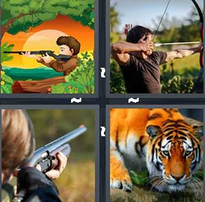 A cartoon man with a rifle, A person using a bow and arrow, A girl shooting a gun, and A tiger