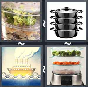 Food in a glass jar, A black steamer, Steam engine ship, and Vegetables in a steamer