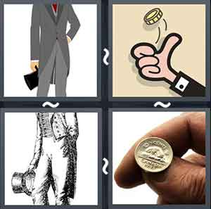 Man standing with hat, Cartoon tossing coin, Picture with no head, and Coin on two fingers