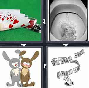 Hand of cards red hearts, Toilet, Cartoon bunnies, and Money going down drain