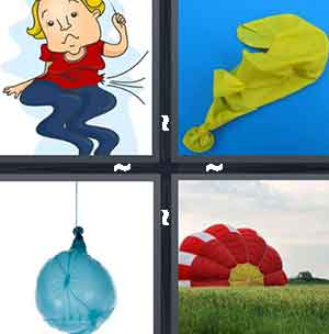 A cartoon character with bending legs, A deflated balloon, A popped balloon, and A large red and white parachute