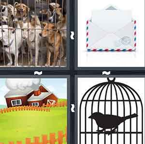 A bunch of dogs inside of a cage, An envelope with a letter inside of it, A red cartoon barn with a fence and green grass, and A cartoon bird inside of a cage