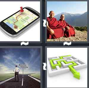 A phone with a map on it, Two Monks in red robes, A road with a person riding a bike, and A maze with a green arrow going through it