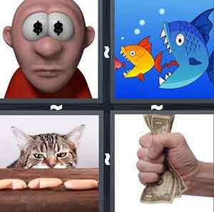 A cartoon figure with dollar symbols in their eyes, A blue fish eating a yellow fish, A cat staring at food on a table, and A person with a fist full of money