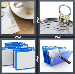 Bill besides a cup, Can opener, Different window tabs, and Magnifying glass and files
