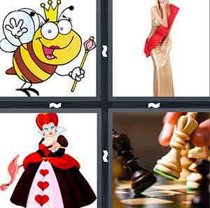 A  bee with a crown and stick, A person in a gold dress and red around them, A cartoon figure in a dress with red hair and red hearts on her dress, and A white Chess piece knocking over a black Chess piece