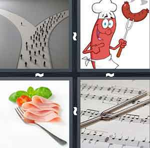 A road split in to two with people walking on the road, A cartoon character holding up a sausage, A piece of sliced meat next to an eating utencil, and A utencil on top of a music sheet