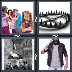 Bunch of children bullying a girl, A wheel with pointed ends, Slaves working, and Masked man with a sword