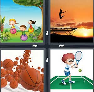 Cartoon children bouncing on balls, A person jumping on the trampoline, Basketballs rolling, and A cartoon person playing tennis
