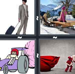 A person pulling their luggae, A woman laying on a sled while someone pushes her, A cartoon race car with a paracute, and A Santa Clause pulling a big red bag