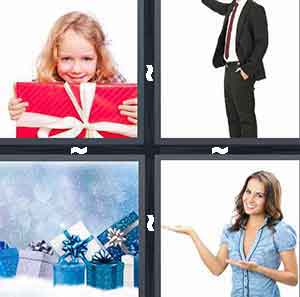 Child with red gift, Blue and silver presents, Man in business suit, and Woman with arms open