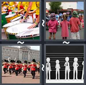 Group on the drums, Three children walking together, Queen's guards marching, and Cartoons standing together