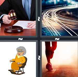 A judge with a brown hammer, Shiny swerving yellow lights, A cartoon woman in a rocking chair, and A person running on the street