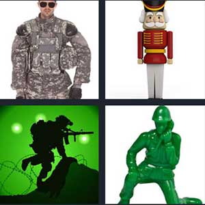 Army officer in his uniform, Cartoon image of a queens guard, Soldier running through barbed wire, and Green statue