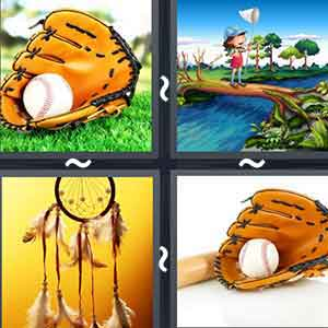 A baseball inside a glove., Girl standing on a tree bridge over a pond playing with net., Four birds catching a ball with their beaks, and A baseball lying inside a glove beside a baseball bat
