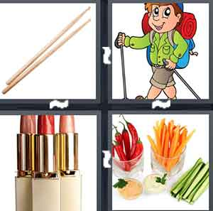 Chopsticks, A cartoon figure walking with a big bag, Three things of lipstick, and A bunch of different vegetables separated