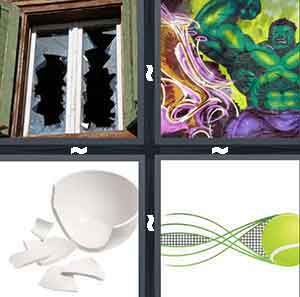 A window with two holes in it, A cartoon character that's green and with big mussels, A broken white bowl, and A green tennis ball