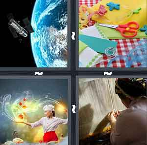A satelite orbiting, A table with scissors and paper, A chef holding out their arm and yellow lights are flying out, and A person making something with their hands