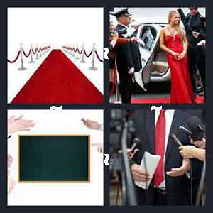 Red carpet, Red gown dress, Chalk board and clapping hands, and Microphones and red tie