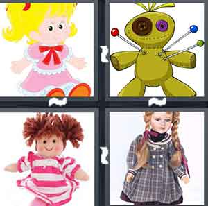 A cartoon girl with blonde hair and a pink dress, A green doll with pins in it, A doll with a pink striped dress, and A doll with a grey dress on