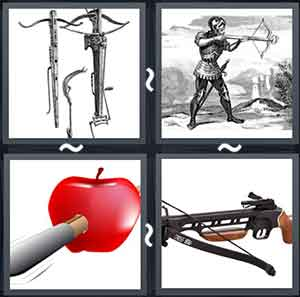 3 fancy crossbows, A man shooting with an arrow, Red apple with an arrow piercing it, and A crossbow
