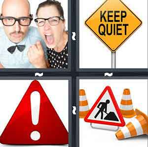 "A man and woman wearing glasses and her with her mouth opened, A sign that reads ""Keep Quiet"", A sign with an exclamation point, and A sign that has person digging and orange cone around it"