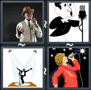 A man singing, Cartoon image singing in a microphone, A man under spotlights on a stage, and A singing lady with a mic